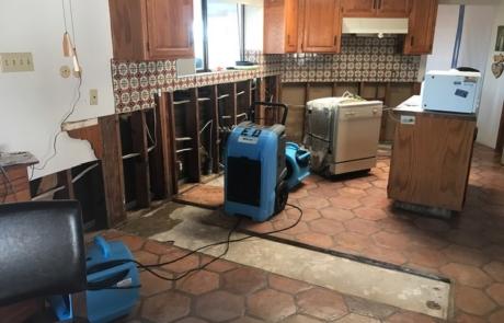 Dehumidying Kitchen - Mission Water Damage Restoration - San Diego, CA