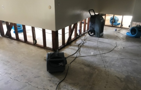 Dehumidifying Base Of Wall After Flood Damage - San Diego, CA