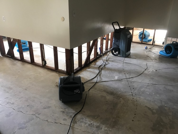 Dehumidifying Base Of Wall After Flood Damage - San Diego, CA